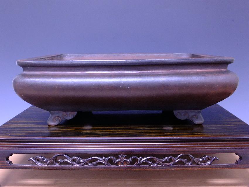 紫泥袋式長方鉢【龍紋印】